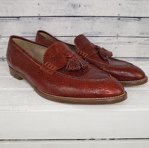 J. Crew Beilla Sepia Crackle Leather Tassel Loafer